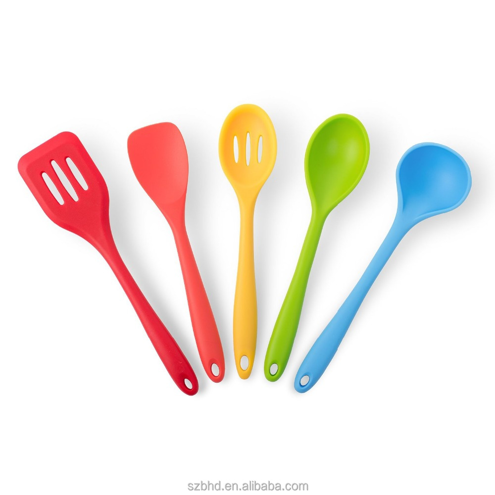Set of 5 stainless steel kitchen utensils fda silicone for Colorful kitchen tools