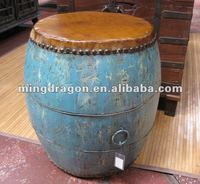 Antique wooden blue coffee table in drum style