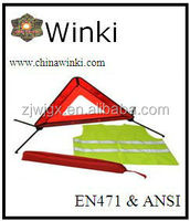 car safety kits emergency warning triangle hi vis vest