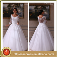 LBS-04 Elegant Tulle Ball Gown Bridal Wedding Party Dresses Long Sleeve Low Back Vintage Wedding Dress for Weddings