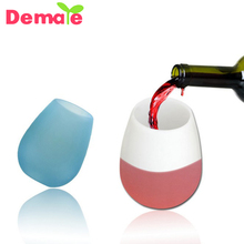 Outdoor Portable Food Grade wine glass Silicone Beer <strong>cup</strong> High-end drop <strong>cup</strong>