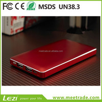 Ultra thin mobile power supply 12000mAh super slim mobile phone charger metal case polymer battery power supply