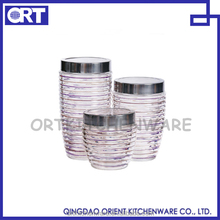 3 PCS GLASS STORAGE JAR SET FOR FOOD