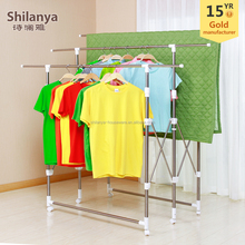 Multi-bar foldable stainless steel clothes drying rack with wheels