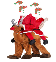 Christmas Costumes Holiday Party Mens Ride On Fancy Dress Reindeer Mascot Costume