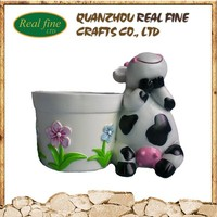 Polyresin fashion resin cow crafts, cow sculpture garden decoration