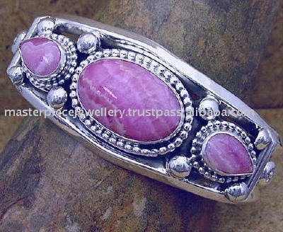 Purple Charoite Silver Artisan Bangle Semiprecious Stone High Quality Handmade Jewelry Bracelets