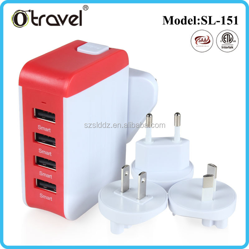 Worldwide 4 Port USB Travel Adaptor Charger for Aus US Japan UK Europe