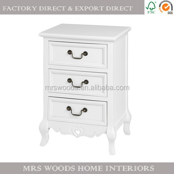french shabby chic 3 drawer chest pine wood white bedside antique reproduction bedroom furniture
