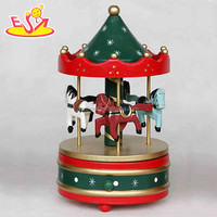 wholesale baby wooden carousel horse music christmas gift kids wooden carousel horse music box W07B009B