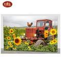 Red Barn with Sunflower and Rooster LED Lighted Canvas Painting for Home Decoration