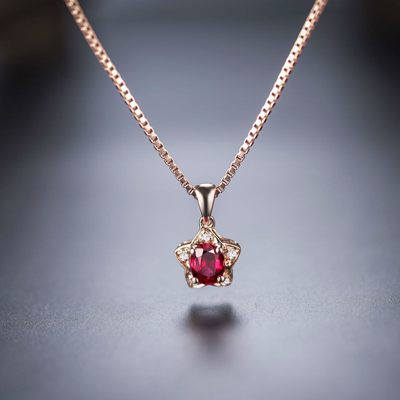 Best gift oval 3x4mm solid 18kt rose gold diamond natural ruby ruby pendant 4 aloadofball Gallery