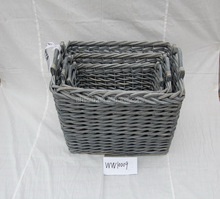 straw,willow Material and Stocked,Eco-Friendly Feature willow storage basket