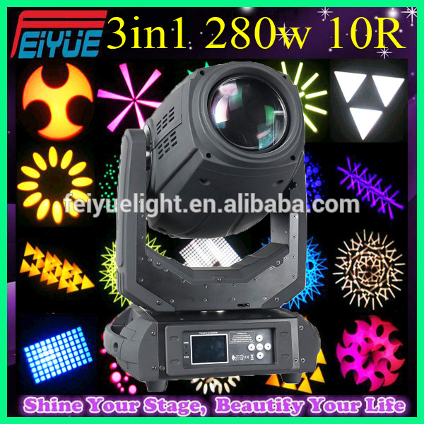 China Provide High Quality Dj Club Stage Light 10R Dmx512 16/24 Channels Control Beam 280 Moving Head Light