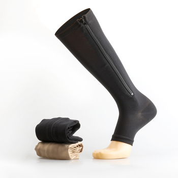 Zipper Compression Sock with Toe Open Knee High Socks Man