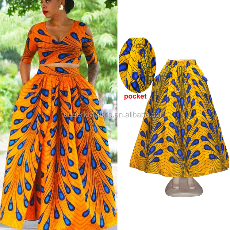Queency African 2017 New Fashion African Style Printed Long Skirt for Women Party and Wedding