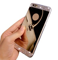 Handmade Bling Diamond Mirror Soft TPU Silicone Case Back Cover for iPhone5 5S 6 6 Plus