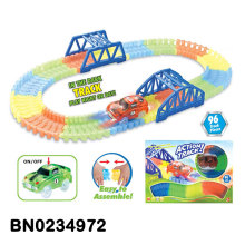 Magic glow track car 96PCS tracks with 5 light up car