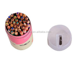 36 pcs paper tube packing colored pencil with sharpener