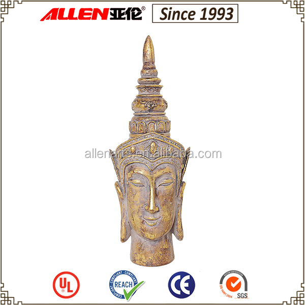 Customized home decorations 6.3*5.7*17.5 inch indian classical buddha head ornaments justice statue