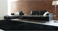 2013 living room hotsale black leather/fabric sofa 2917A+E+G#