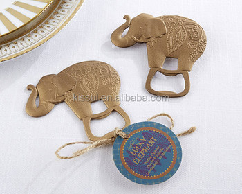 Wedding celebration favors of Lucky Golden Elephant Bottle Opener wedding gift