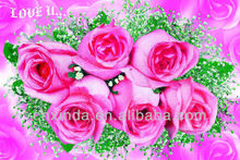 Romantic pink rose wall pictures for living room on sale