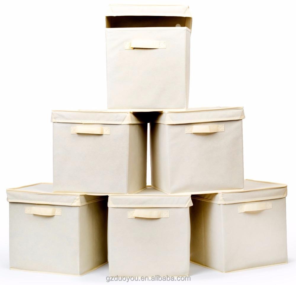 Decorative Woven Collapsible Fabric Lidded Shelf Storage Bin / Closet  Organizer Box Basket   Buy Collapsible Canvas Storage Bins,Closet Organizer, Storage ...