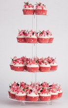 4 Tier Clear Acrylic Round Wedding Party Cupcake Display Tree Tower Stand With Base Acrylic Stacked Party Cupcake Display