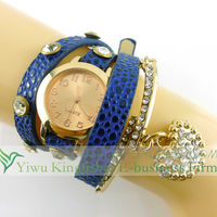 2014 New design fashion women watch leather wrap crystal pave alloy heart pendant fashion bracelet watch made in China!!