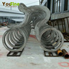 Innovative Stainless Steel Riding Man Bicycle Sculpture