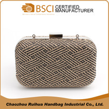 High level fashion woven evening clutch bag women wholesale