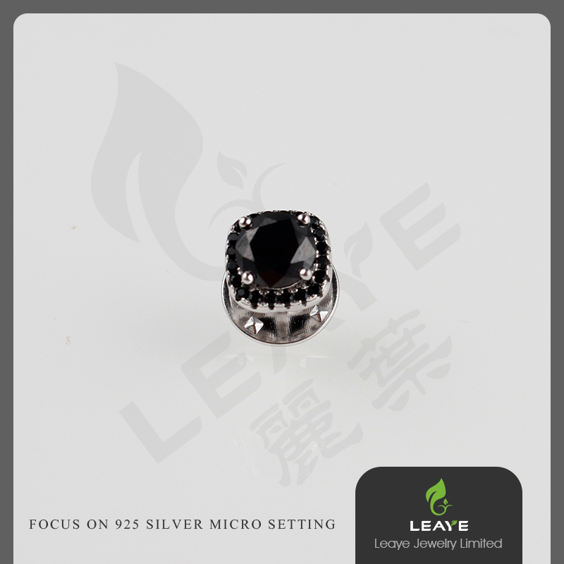 High quality black CZ 925 silver brooches