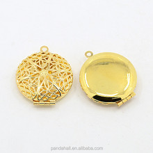 Gold Plated Brass Filigree Cage Locket Pendants, Photo Frame Charms for Necklaces, 27x7mm, Hole: 2mm(KK-J010-G)