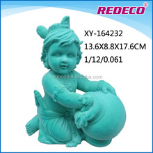 Small resin flocked male baby angel figurines