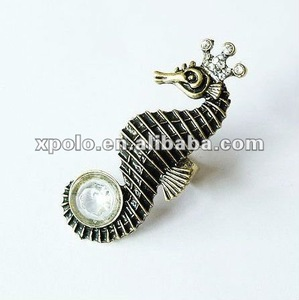 Jewelry Wholesale Vintage Sea Horse With Crown Open Finger Ring