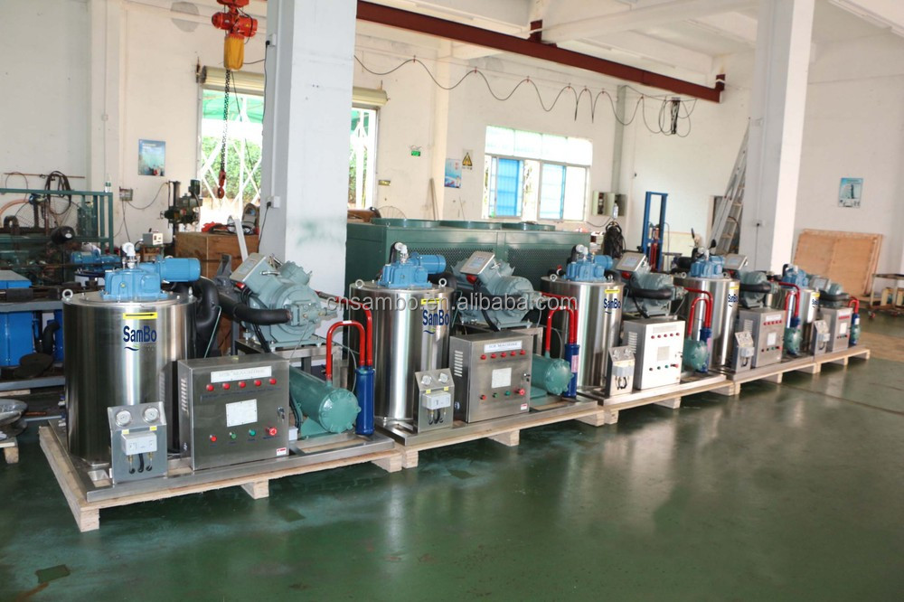 Snow Flake Ice Machine 10T GEA/Bock Bitzer compressor fishery & meat processing concrete cooling Block ice machine