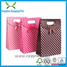 Custom Guangzhou Upscale Fancy Private Creative Ribbon Hand Tied Bow Emboss Logo Gift Paper Bag
