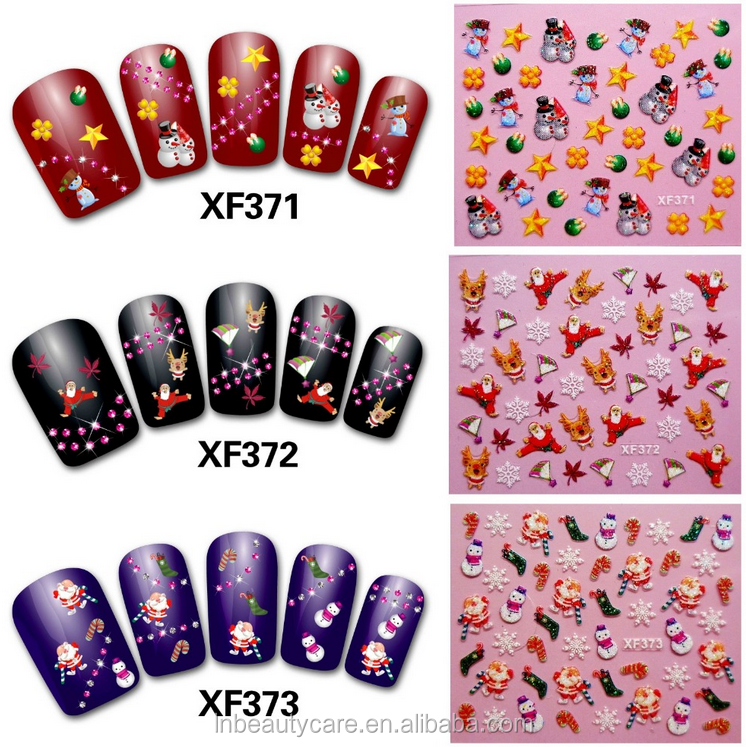 Catoon nail sticker/3D Nail Sticker/3d christmas nail decorations
