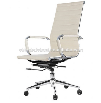 906A# Commercial popular white PU leather high back office chair