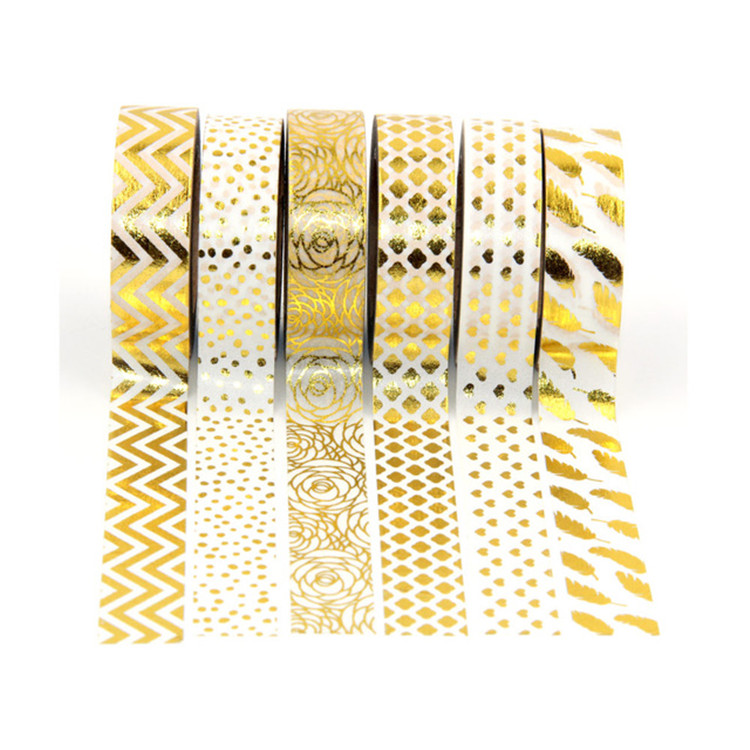 China Factory Foil Gold DIY Japanese Washi Decorative Colored Packing Craft Masking Christmas Adhesive Paper Tape