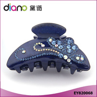 Unique High Quality Cellulose Acetate Rhinestone Flower Printed Hair Claw Clip for Women Luxury
