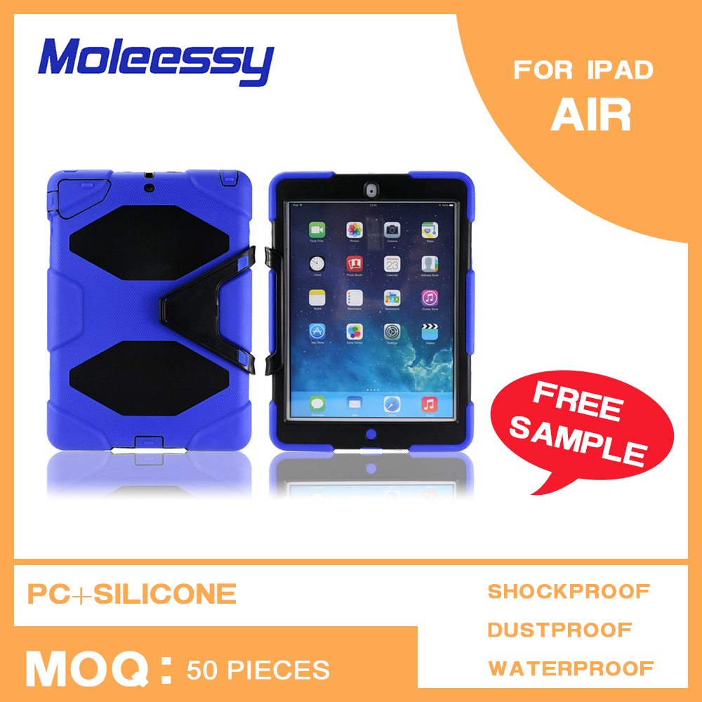 Alibaba China factory price silicone+pc waterproof cover case for ipad air/ipad 5