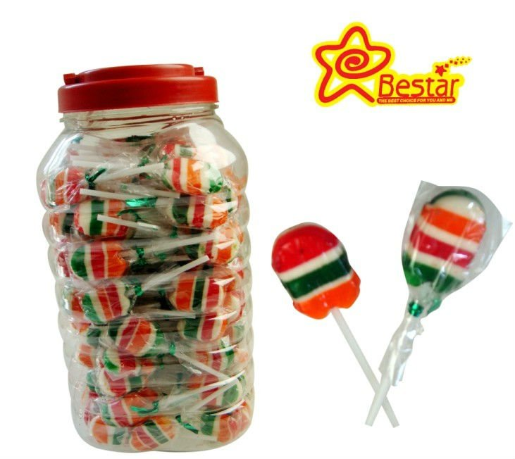 Fruit flavor stripe flat lollipop
