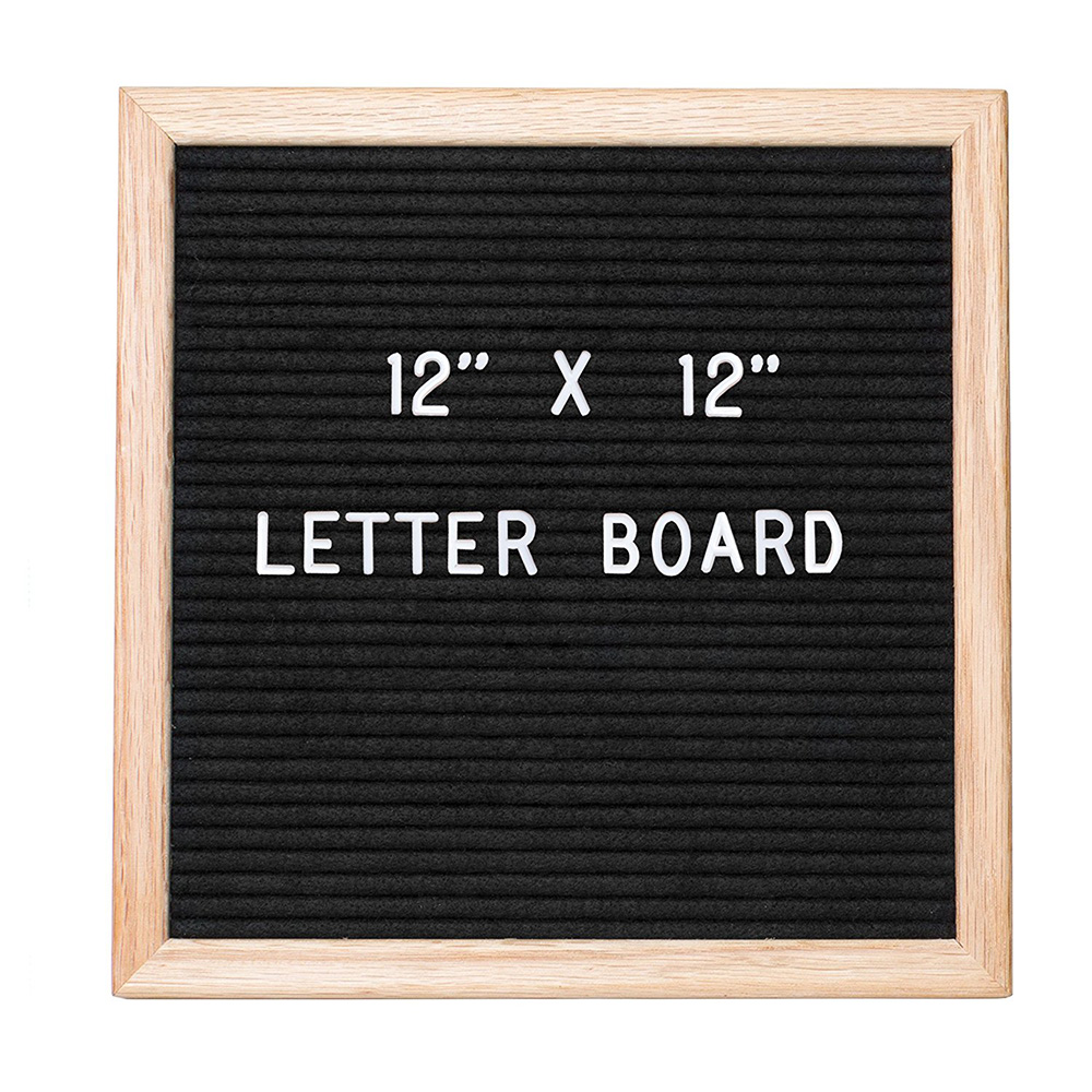 "12"" x 12"" letter felt board with <strong>oak</strong> frame and gray felt"