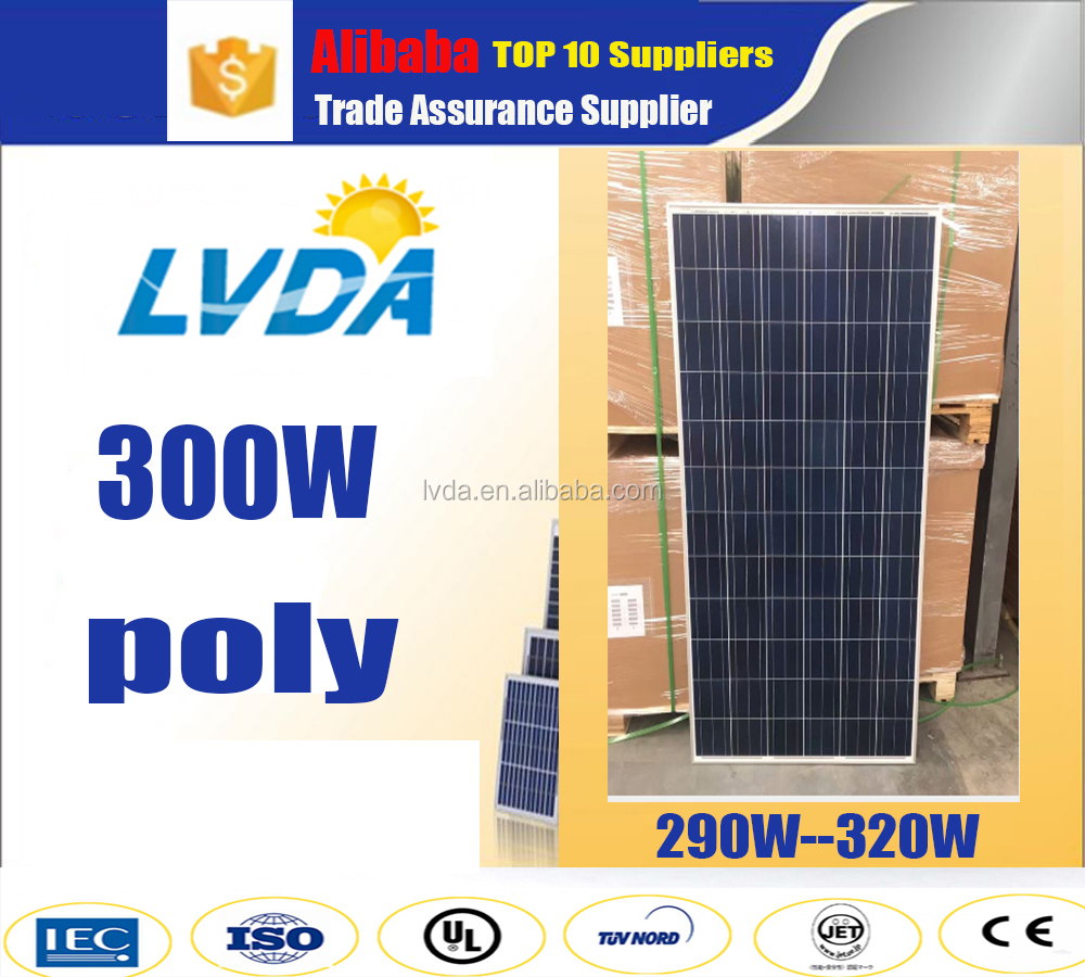 High quality polycrystal solar panels 300w A grade Solar Cell 19% charging efficiency 25 years 300w poly solar panel