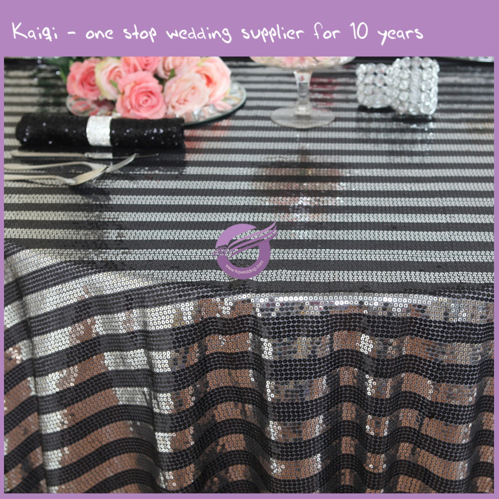 MX0025E luxury wholesale custom wedding sequin gold and black table cloth