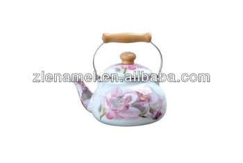 full decals enamel tea pot kettles with wood handle 2.5L