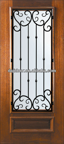 Single Wooden Panel Safety Doors Design With Grill DJ-S5303MW-5