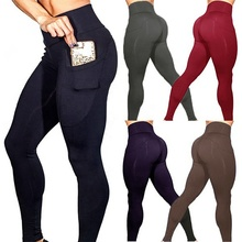 OEM 2019 frauen leggins sport workout yoga hosen fitness frauen leggings mit tasche